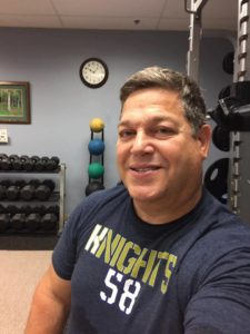 "Andy Hess for supporting the film KNIGHTS ""58"" and the #environment. Check him out sporting the t-shirt at Cooper Massage & Fitness in Chester. Andy Hess: played strong safety and was the outside threat running back, [#43] during the 1979 season."